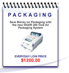 The WiAir 200 air cushion packaging system provides easy to use air cushions on-demand for fast, easy packing. Best of all, WiAir 200 was designed with whole new concept that includes inflating technology and non pre-perforated film, and produces various size air cushions without changing the roll of film.
